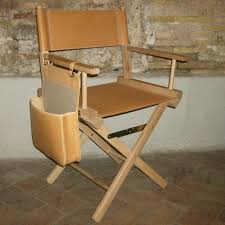 director s chair in natural leather and wood