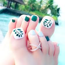 Cugap 24pcs Fashion False Fake Artificial Toe Nails Tips Toe Nail Art Holiday Tools For Women Teens Girls