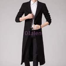 hot mens slim fit wool blend full length long trench coat business formal jacket