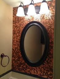brilliant penny backsplash for bathroom vanity with lights