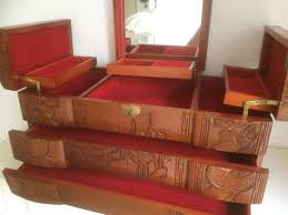 large asian wooden jewellery box with mirror 1940 50s