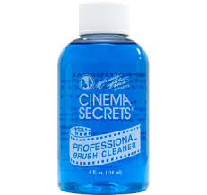 let me introduce you to one of my must have s the cinema secrets professional brush cleaner this blue liquid not only cleans brushes in a matter of