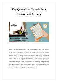 Restaurant Survey Top Questions To Ask In A Restaurant Survey