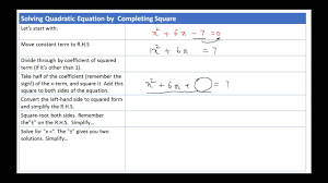 solving quadratic equations by completing the square in urdu