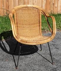 W Mid Century Modern Chair Wicker Bamboo Rattan Mccobb Iron