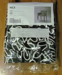 bnip ikea nils cover armrest chair slipcover in eslov black and white