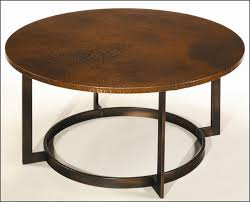 enchanting brown round industrial wood and iron leg copper top coffee table design for living room decoration