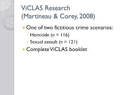 chapter criminal profiling questions from my last lecture youth  3 viclas research martineau corey 2008 one of two fictitious crime scenarios ◦ homicide n 116 ◦ sexual assault n 121 complete viclas booklet