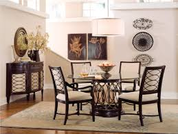 modern rustic dining table feature unique metal base and also round clear glass top plus espresso
