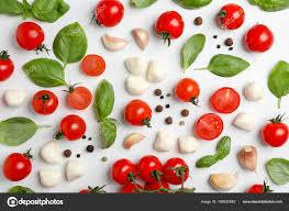 Light Mozzarella Cheese Nutrition Flat Lay Composition Tomatoes Mozzarella Cheese Balls Garlic