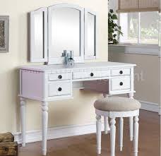 Vanity Tables Tri Fold White Vanity Makeup 3 Mirror Table Set Dresser Drawers