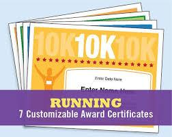 Fun Run Certificate Template Running Certificates Pack Runner Award 5k 10k Fun Run