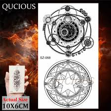 Magic Circle Moon Star Planets Temporary Tattoo For Kids Children Body Art Arm Summer Style Tattoo Geometry Mountain Tatoo Paper