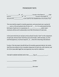 Promissory Note Template For Family Member Blank Promissory Note Form Standard Language Naveshop Co