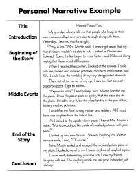 Elementary Essay Examples Personal Narrative Example Writing Narrative Writing