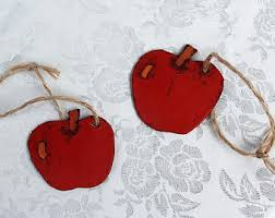 apple ornaments. apple ornaments, set of 2 leather country primitive ornaments n