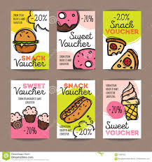 discount voucher movie template cinema gift certificate coupon vector set of discount coupons for fast food and desserts colorful doodle style voucher templates