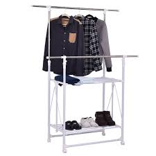 Adjustable Coat Rack Double Rail Folding Adjustable Rolling Clothes Rack Hanger W 100 56