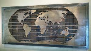 metal world wall map sculpture on reclaimed wood world map wall art with metal world map wall art sculpture 3 sizes reclaimed wood steel