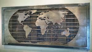 metal world wall map sculpture