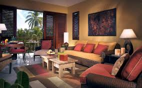 ... Furniture Dark Brown Wall Book Living Room, Interior Living Room Fancy  Brown Rattan Sofas With Red Cushions And Twin Hardwood ...