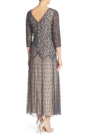 Details About Pisarro Nights Beaded Mesh Dress Sz 8 Slate
