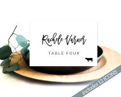 Place Card Printable Template Place Card Template Place Cards With Meal Choice Place