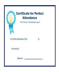 Attendance Award Template Perfect Attendance Certificate Template Award Printable