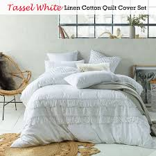 tassel white linen cotton quilt duvet cover set double queen king super king