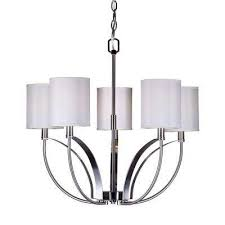 5 light brushed nickel chandelier with white linen shade