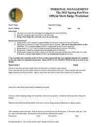 Personal Management Merit Badge Fillable Worksheet Fill