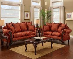 The Living Room Set Red Floral Print Sofa And Loveseat Traditional Sofa Set For The