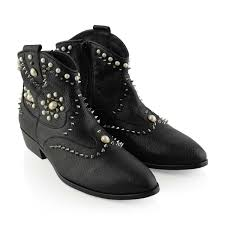 Studded Boots Designer Missouri Girls Black Leather Studded Ankle Boots Girls