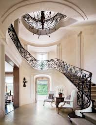home office decorating ideas nyc. Lovely At A Water Mill New York Home Wrought Iron Balustrade Wraps The Serpentine Staircase Office Decorating Ideas Nyc