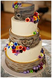 Rustic Wedding Cake Initials Carved Into A Tree Cake