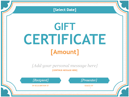 a gift certificate template in blue and orange