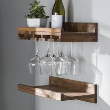 floating shelves wine glass rack wine racks storage youll lov on wine rack rustic reclaimed wood