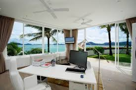 white desk home office. Tropical-home-office-design-with-white-desk-and- White Desk Home Office