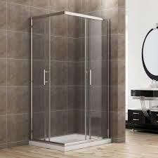 elegant 900 x 700 mm framed corner entry 6mm sliding shower enclosure set and tray
