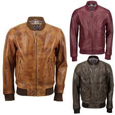 details about new mens soft real leather er jacket vintage biker style in black rust brown