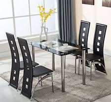 5 piece glass dining table set 4 leather chairs kitchen room breakfast furniture breakfast furniture sets