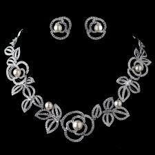 rhodium diamond white pearl necklace earring rose jewelry set