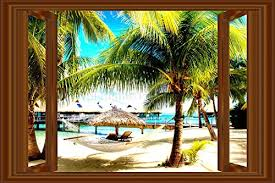 Small Picture 3D Window Decal WALL STICKER Home Decor Beach Palms View Art