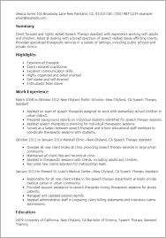 Slp Resume Examples Custom Speech Therapy Assistant Resume