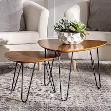 Grey wash wood veneer end table. Amazon Com Walker Edison Mid Century Modern Hairpin Coffee Table Set Living Room Nesting Walnut Furniture Decor