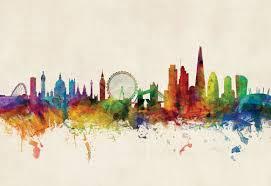london city skyline watercolour painting print