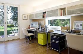 office and storage space. Yellow And Blue Storage In A Home Office For Painted Design Space