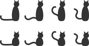 黒猫のシルエット8パターンのフリーイラスト素材