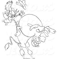 Small Picture Vector of a Cartoon Cowboy Riding a Giant Bull Coloring Page