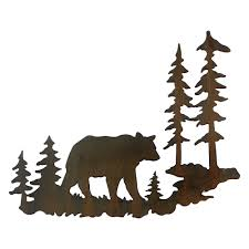 Black Iron Wall Decor Woodland Bear Metal Wall Art
